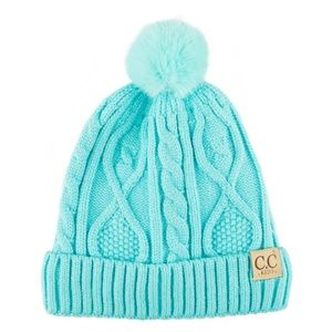C.C Children Cable Knitted Beanie Hat W. Pom